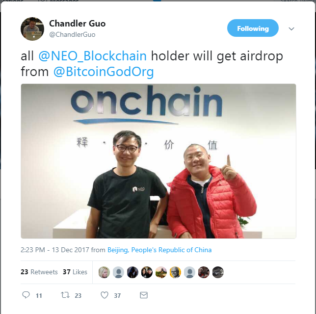 Chandler Guo tweet about support from NEO