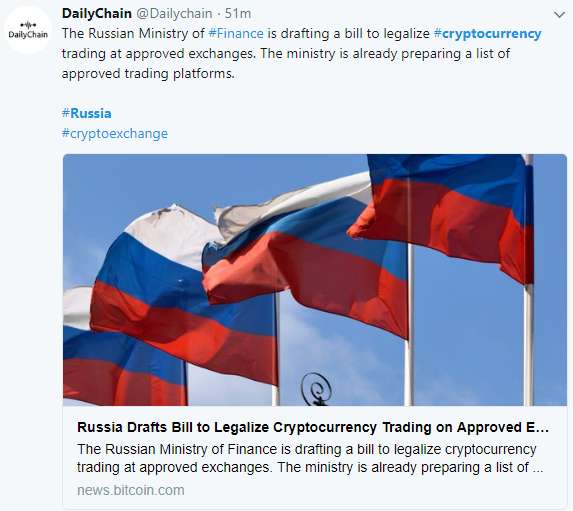 Cryptocurrency Trading to be Legalized at Approved Exchanges in Russia