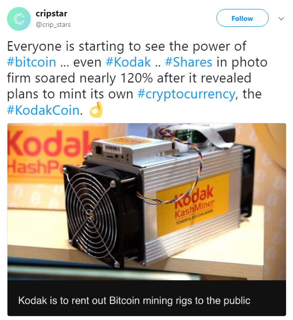 dak Share Price Triples after the Launch of KodakCoin
