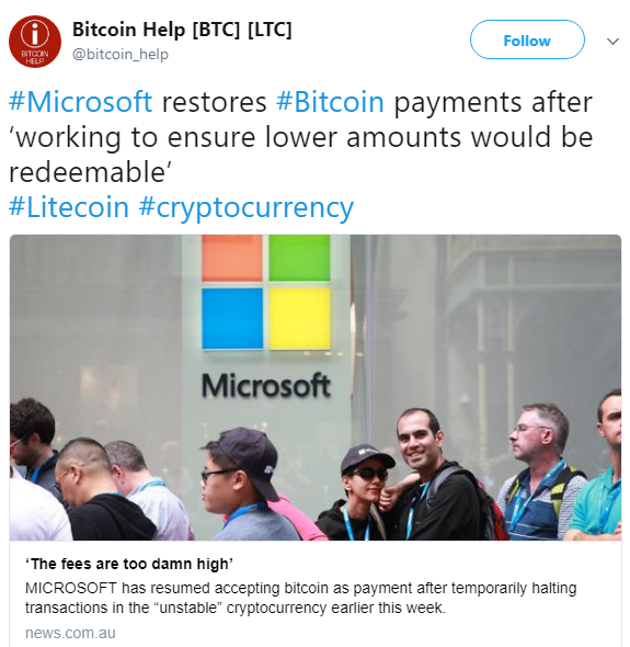 Microsoft stopped accepting bitcoin deposits