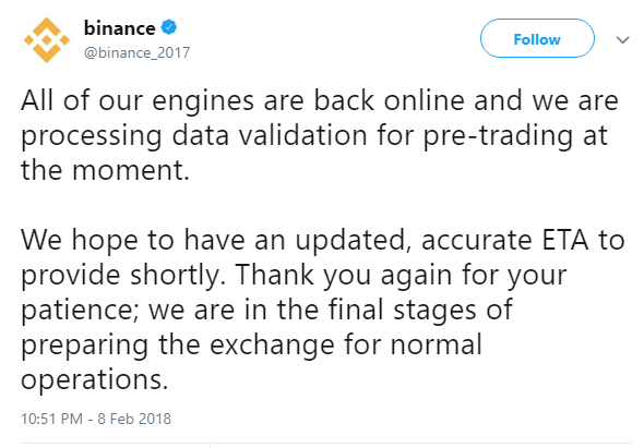 binance back online