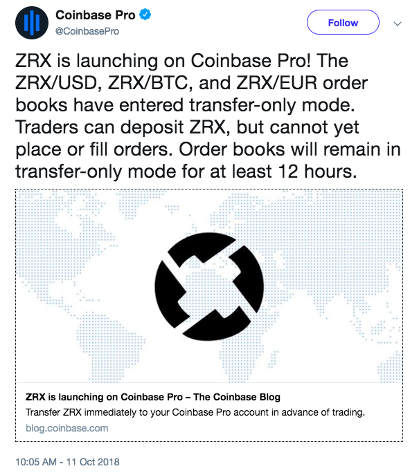 Ox Surges 13% as Coinbase Pro Launches ZRX | Coingape