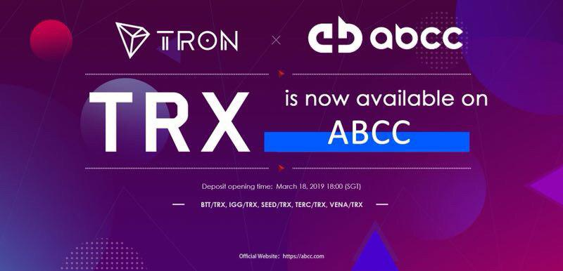ABCC Exchange And TRON New Partnership Developments