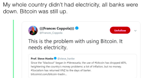 Venezuelan Claim Bitcoin Doesn't Need Electricity – Despite Blackout BTC Was Up