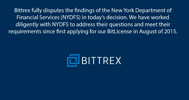 Bittrex Responds New York Regulator's Claims behind BitLicese Rejection