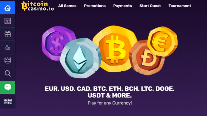 PR Bitcoincasinoio Adds Ethereum Litecoin Bitcoin Cash Dogecoin Tether EURO USD 4 FIAT Currencies