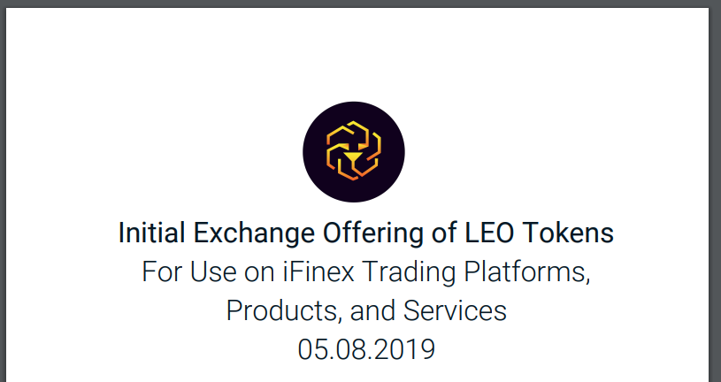 Official - Bitfinex LEO Whitepaper is Live, Noting $LEO as Utility Token on iFinex ecosystem