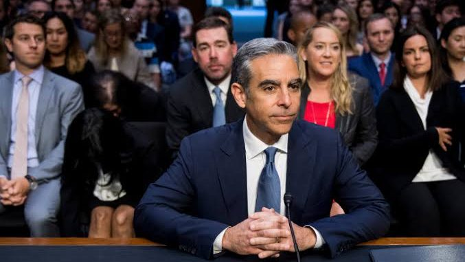 Libra's Head, David Marcus sitting in font of a Senate to testify on Libra