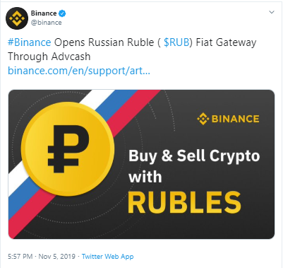 Binance Enables Ruble Deposits With Advcash, Might Add Support for UAH and KZT