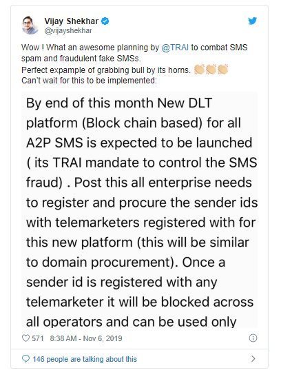 Confirmed: Indian Telecom Regulator [TRAI] To Launch Blockchain-Based Spam SMS Blocking Platform