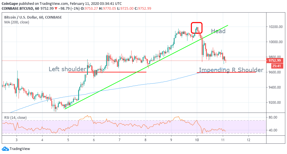 Bitcoin Price Analysis: BTC/USD Dip To $9,600 Imminent As $10,200 Beckons  Bitcoin retreat to $9,600 could be the key to next rally above $10,000. Increased selling activity between $9,800 and $10,000 must be tackled head on to pave the way for gains towards $10,200. Bitcoin is in retreat after failing to break above the resistance at $10,200 during the weekend session. Besides, the bulls could not keep holding onto the support above $10,000. Instead, a flash drop sent Bitcoin back to $9,700 support on Monday as bulls scattered unexpectedly.  Attempts to keep the price afloat above 9,800 have been thwarted by increased selling activity. The price is currently digging deeper towards the initial support at $9,700. Moreover, the sellers seem to be taking advantage of the bulls after most of them scattered into hibernation following the drop. BTC/USD daily chart  Possible Head-and-shoulders Pattern The retreat is painful for the buyers who had recently made progress above $10,000. However, it apparent that as both the fundamentals and technical stands, advancement upwards is unlikely in the near term. Therefore, a drop to the next support at $9,600 could complete the formation of a right shoulder. In so doing, reaction to the pattern will push BTC back into the bullish zone above $10,000 and $10,200 respectively banking on the reversal being supported by the right volume. Moreover, after most investors sold at a higher level, a majority are waiting to buy lower, preferably at $9,600. Short term technical analysis, however, should that Bitcoin could sustain gains above $9,700 (RSI begins sideways movement) but the buyers will not have the strength to beat the resistance at $9,900 as well as $10,000.  Bitcoin Key Levels Spot rate: $9,752 Relative change: -98 Percentage change: -1% Trend: Bearish  Support: $9,700 and $9,600 Resistance: $9,800, $10,000 and $10,200