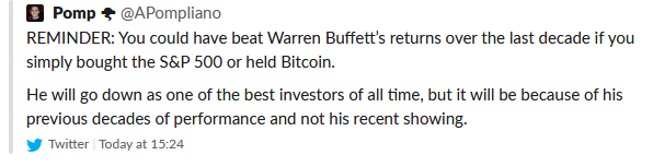 Anthony Pompliano Tweet on Warren Buffett