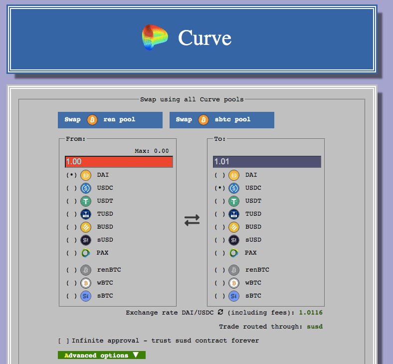 Curve Finance Liquidity pool