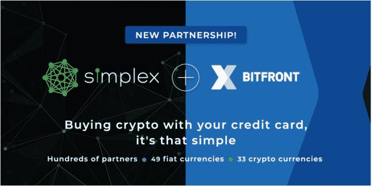 Bitfront faz parceria com Simplex para integrar Fiat-Crypto Com Fácil Acesso