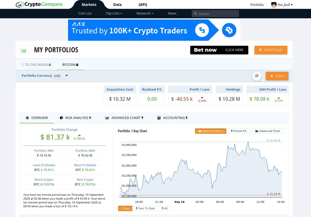 CryptoCompare Portfolio tracker