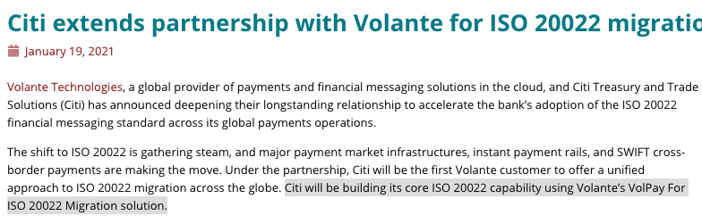 CITI Partners with VolPay