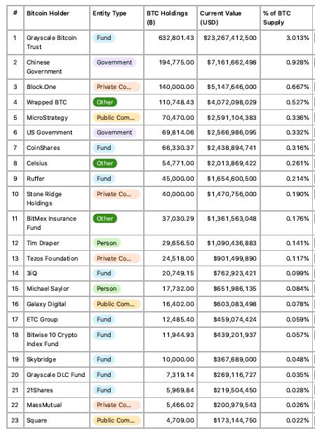 Top Bitcoin Holders- Institutional Investors