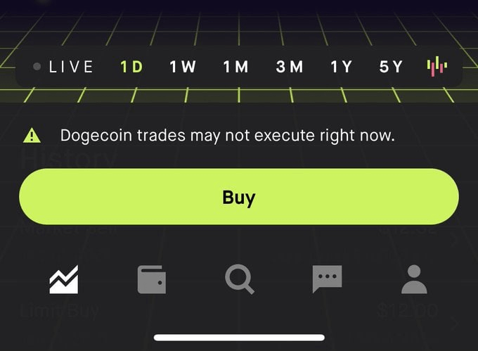 Dogecoin blocked at Robinhood