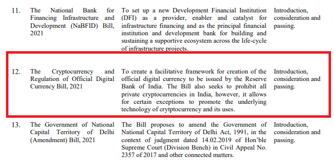 The Cryptocurrency and Regulation of Official Digital Currency Bill, 2021