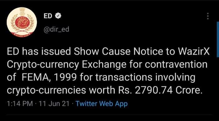 Indian Crypto Exchange WazirX Issues Statement on Financial Watchdog Notice